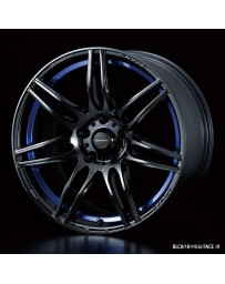 WedsSport SA-77R 17x7 4x100 ET43 Wheel- Blue Light Chrome Black
