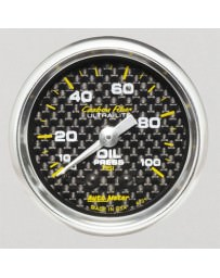 Nissan GT-R R35 AutoMeter Carbon Fiber Mechanical Oil Pressure Gauge 100 PSI - 52mm