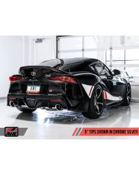 "Toyota Supra GR A90 AWE Tuning Track Edition Exhaust 5"" Chrome Silver Tips"
