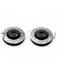 350z DE Stoptech Direct Replacement Rotors, Front Pair with Standard Non-Sport Calipers, Drilled