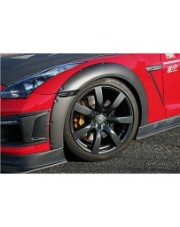 ChargeSpeed Bottom Line Gloss Carbon 15mm Front Over Fenders (Japanese CFRP) 4 Pieces Nissan GTR Zenki 07-11