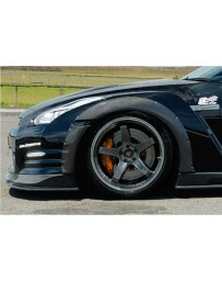 ChargeSpeed Bottom Line Gloss Carbon 15mm Front Over Fenders (Japanese CFRP) 4 Pieces Nissan GTR 12-16