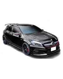 Varis FRP and Carbon Accent Cooling Bonnet Hood System 2 with Side Fin Duct Mercedes Benz A45 AMG Wagon 13-18