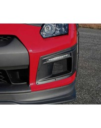 ChargeSpeed Gloss Carbon Front Bumper Duct with LED Turn Signal CFRP Nissan GT-R R35 09-16