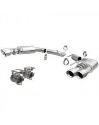 """MagnaFlow Axle-Back Exhaust Kit 3"""" Competition Series Stainless Steel With 4"""" Polished Quad Tips GT 2018-2020"""
