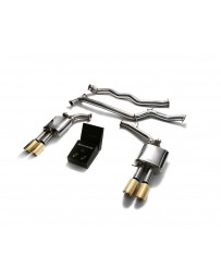 ARMYTRIX Stainless Steel Valvetronic Catback Exhaust System Quad Gold Tips Audi A4 A5 B8 2008-2020