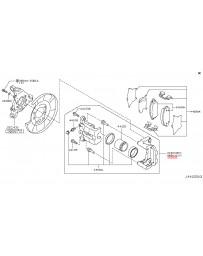 370z Z34 Nissan OEM Caliper Assembly, Akebono Sport, Rear LH, Gray