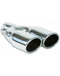 "Vibrant Performance Dual 3.25"" x 2.75"" Oval Stainless Steel Tips (Single Wall, Angle Cut)"